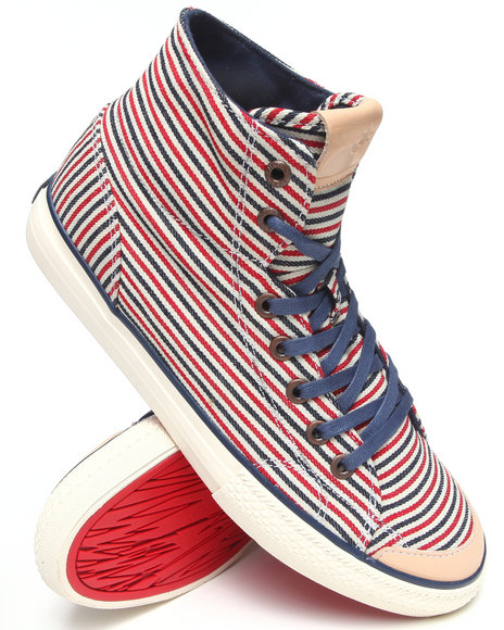 The Hundreds Red Valenzuela High Hickory Stripe Denim Sneakers