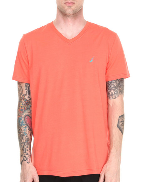 Nautica - Men Orange Contrast Collar T-Shirt
