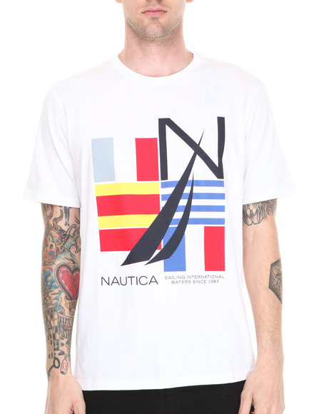 Nautica - Men White Signal Flag T-Shirt