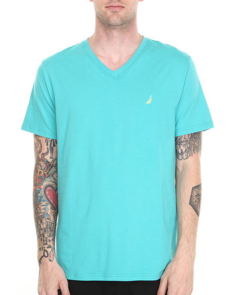 Nautica - Men Teal Contrast Collar T-Shirt
