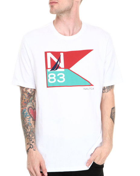 Nautica - Men White N-83 Flag T-Shirt