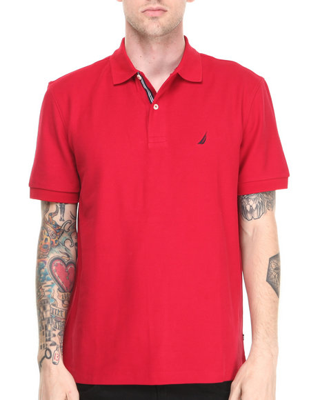 Nautica - Men Red Honeycomb Pique S/S Polo