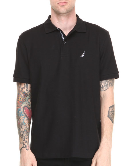 Nautica - Men Black Honeycomb Pique S/S Polo