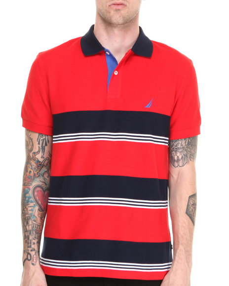 Nautica - Men Red Honeycomb Pique Stripe Polo