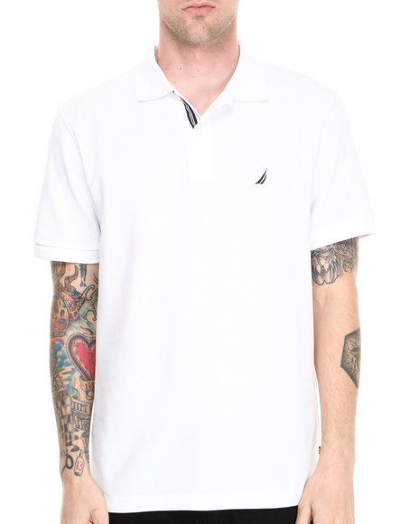 Nautica - Men White Honeycomb Pique S/S Polo