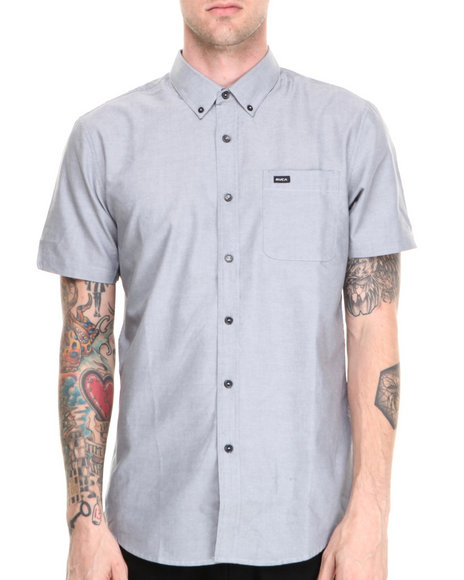 RVCA Grey That'll Do Oxford S/S Button-Down