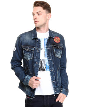 Armani Jeans - DENIM JACKET W/ PATCHES AND LEATHER TRIM