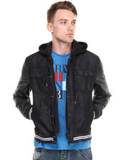 Men - DENIM COTTON RINSE WASH W/ LEATHER DETAILS & HOOD