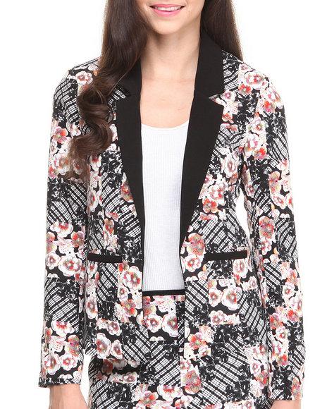 MINKPINK Black,Multi Shibori Flower Blazer
