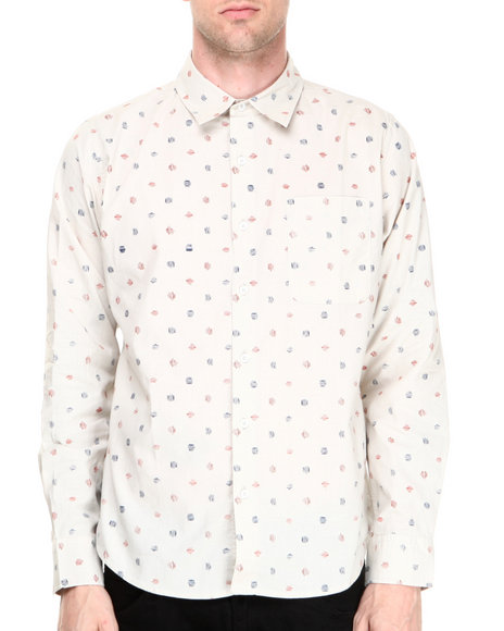 Fourstar - Men Off White Anderson Crosshatch Dot L/S Button-Down