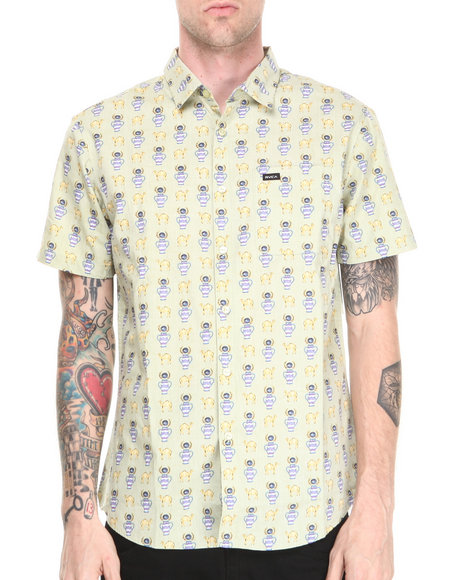 Rvca - Men Green Alsweiler Camel S/S Button-Down
