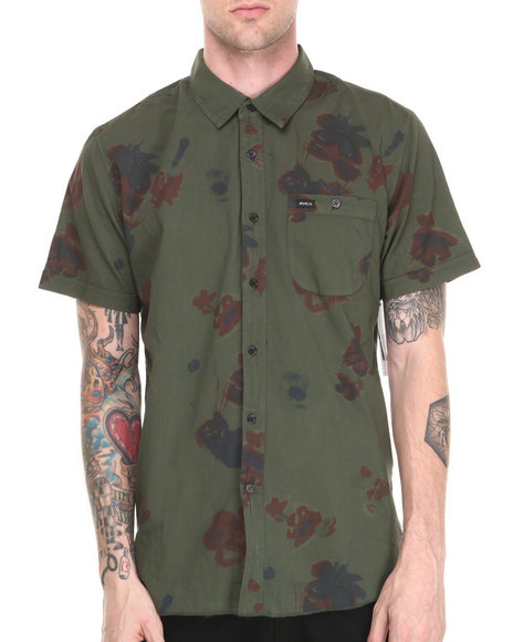 Rvca - Men Green Poppy Field S/S Button-Down - $24.99