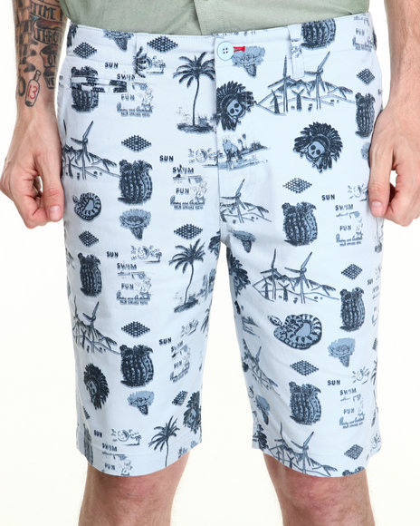 Fourstar - Men Blue Koston Low Desert Print Shorts