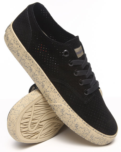 The Hundreds Black Johnson Low Perforated Suede Sneakers