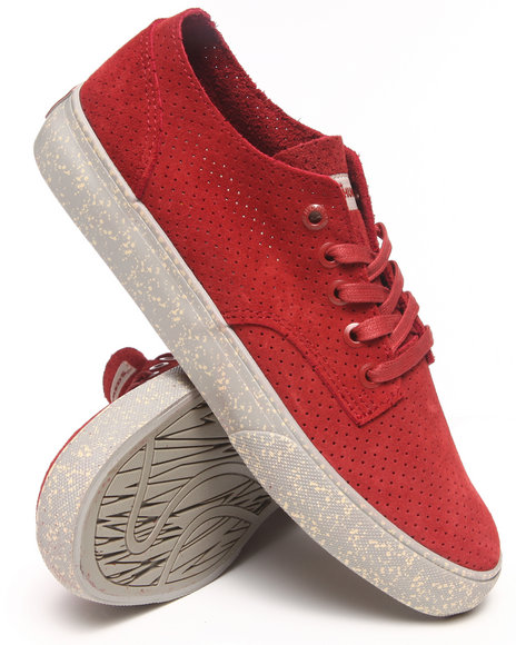 The Hundreds Maroon Johnson Low Perforated Suede Sneakers