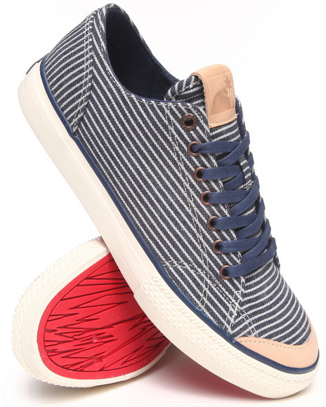 The Hundreds Blue Valenzuela Low Hickory Stripe Denim Sneakers