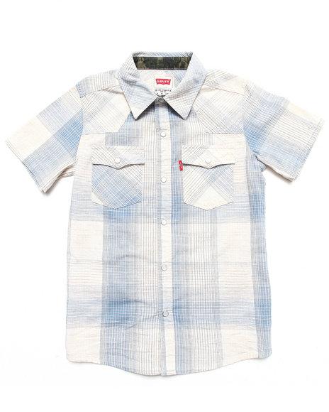 Levi's Boys Blue Reseda Western Plaid Shirt (8-20)