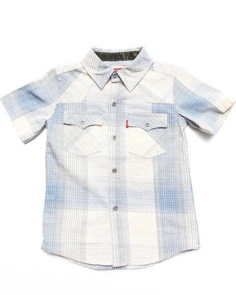 Levi's Boys Blue Reseda Western Plaid Shirt (4-7X)