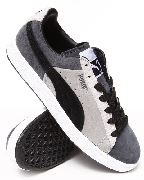 Puma - Men Grey Suede Stripes And Blocks Sneakers