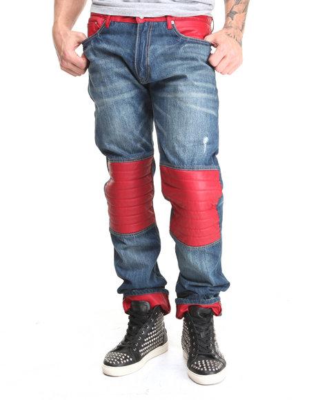 Winchester Dark Wash P U Lower Trimmed Denim Jeans