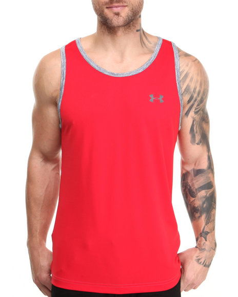 Under Armour - Men Red Tech Tank (Moisture Transport & Anti-Odor Technology)