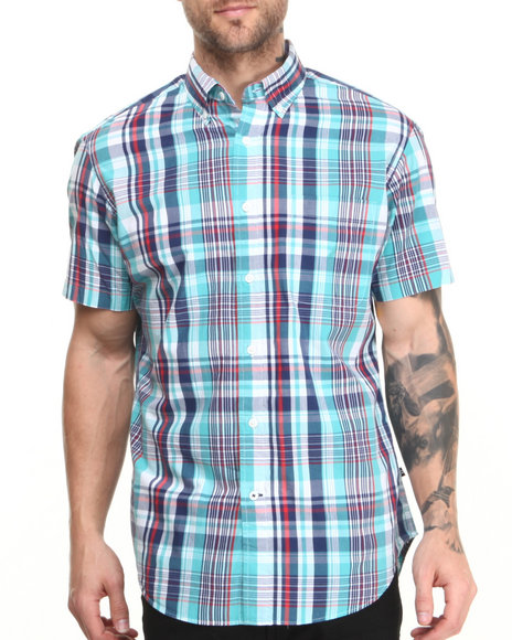 Nautica - Men Blue Vineyard Popline S/S Button-Down