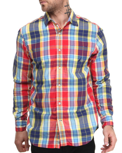 Nautica Red Vineyard Poplin L/S Button-Down