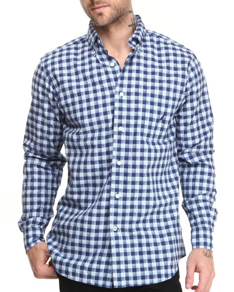 Nautica - Men Blue Mercerized Poplin L/S Button-Down