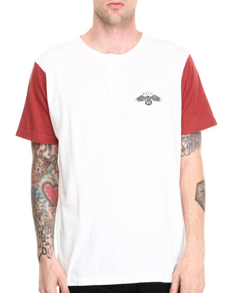 Rvca - Men Red Heater Henley Tee
