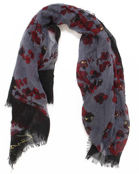 Kensie Women Floral Voile Scarf Black