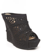 Fashion Lab - Kati Laser Cut Peep Top Wedge