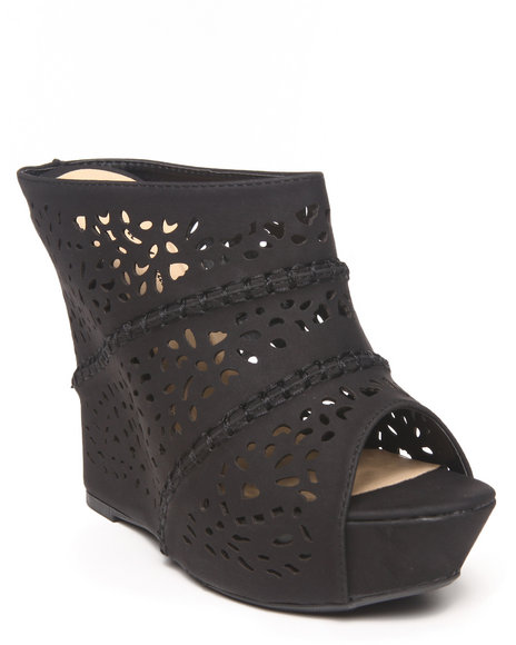 Fashion Lab - Women Black Kati Laser Cut Peep Top Wedge