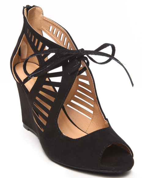 Fashion Lab - Women Black Alicia Cutout Peep Toe Wedge W/ Tie