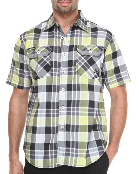 Akademiks Black Shelby Large Plaid Short Sleeve Button Down Shirt