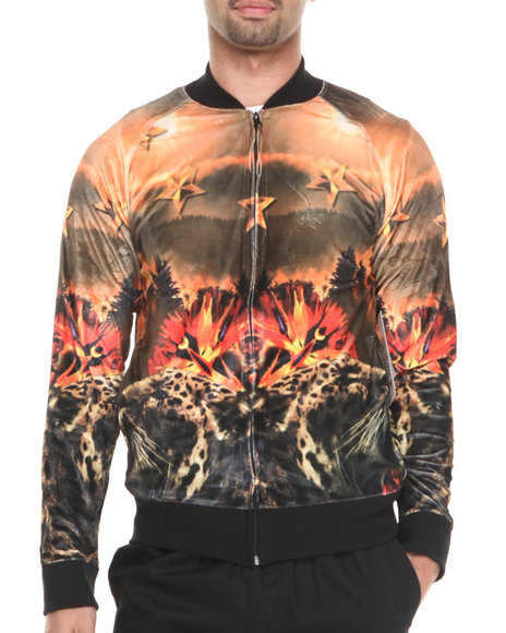 Akademiks Animal Print,Black Leopard & Stars Sublimation Starter Jacket