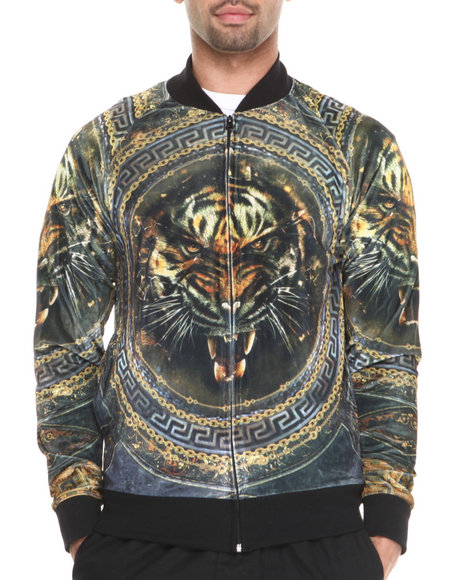 Akademiks - Men Black Tiger Sublimation Starter Jacket - $39.99