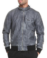 Members Only - Distressed Faux Leather Bomber Jacket