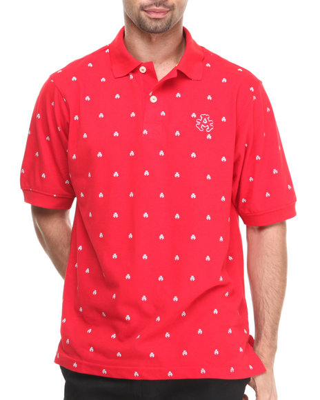 Akademiks Red Manhunt Allover Print Short Sleeve Pique Polo