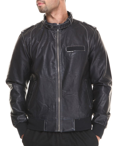 Members Only - Men Black Faux Leather Iconic Racer Jacket