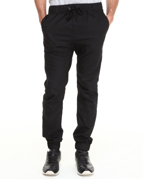 Akademiks - Men Black Drawstring Elastic Banded Twill Pants