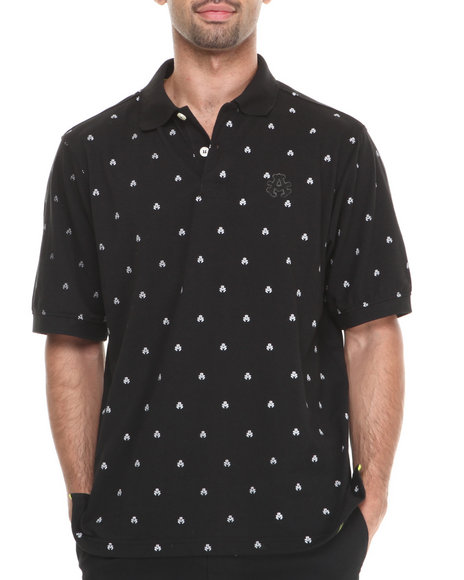 Akademiks - Men Black Manhunt Allover Print Short Sleeve Pique Polo - $15.99