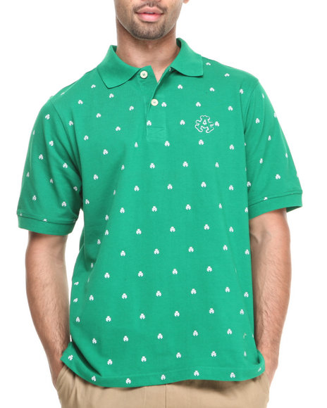 Akademiks Green Manhunt Allover Print Short Sleeve Pique Polo
