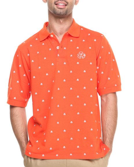 Akademiks - Men Orange Manhunt Allover Print Short Sleeve Pique Polo