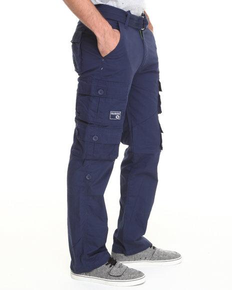 Akademiks - Men Navy Beach Comber Twill Cargo Pant W/ Belt