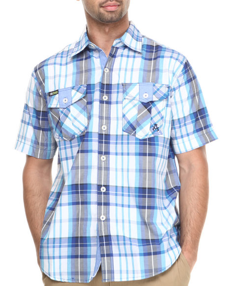 Akademiks - Men Blue Camaro Plaid Short Sleeve Button Down Shirt