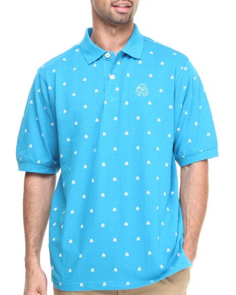 Akademiks - Men Blue Manhunt Allover Print Short Sleeve Pique Polo - $17.99