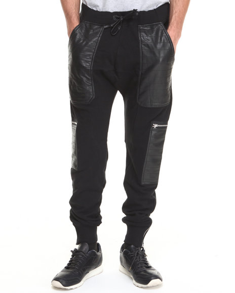 Winchester - Men Black Black Hawk P U - Trimmed French Terry Curved - Rise Jogger