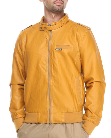 Members Only Yellow Faux Leather Iconic Racer Jacket