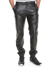 Men - Elastic Banded Twill Pants w/ Vegan Leather Trim