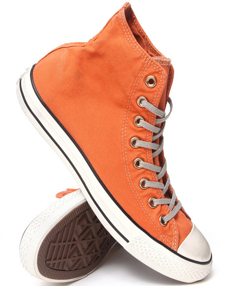 Converse - Men Bronze, Orange Washed Canvas Chuck Taylor All Star Hi Sneakers